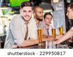 a guy with a beer sitting at... | Shutterstock . vector #229950817