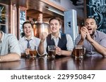 four men fans drinking beer and ... | Shutterstock . vector #229950847
