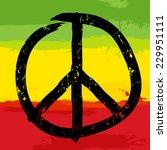 peace symbol and rastafarian... | Shutterstock .eps vector #229951111