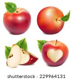 red apples and apples slices... | Shutterstock .eps vector #229964131