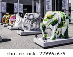 "Small photo of Citygate, Hong Kong, Sept 1, 2014: Exhibition of elephant sculptures;with the title ""Something BIG is afoot at Citygate outlets"""