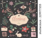 christmas set of hand drawn... | Shutterstock .eps vector #229977355
