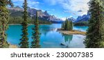 spirit island in maligne lake ... | Shutterstock . vector #230007385