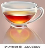 transparent  cup with tea