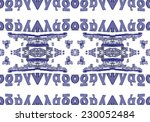 blue ethnic pattern. abstract... | Shutterstock . vector #230052484