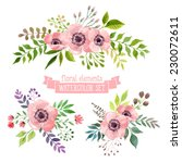 Stock vector vector flowers set colorful floral collection with leaves and flowers drawing watercolor spring 230072611