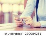 closeup image woman hands... | Shutterstock . vector #230084251