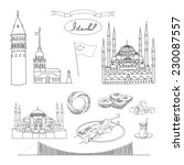 black and white istanbul... | Shutterstock .eps vector #230087557