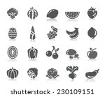fruit and vegetable icons   Shutterstock .eps vector #230109151