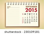 september 2015 calendar... | Shutterstock .eps vector #230109181