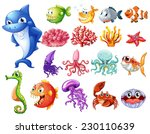 various sea creatures on white | Shutterstock .eps vector #230110639