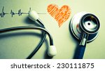 stethoscope and pulse drawing ... | Shutterstock . vector #230111875