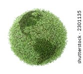 Green plant globe with north and south america over white background - stock photo