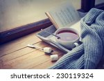 warm knitted sweater cup of hot ... | Shutterstock . vector #230119324