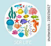marine life set of icons ... | Shutterstock .eps vector #230156017