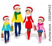 happy family going christmas... | Shutterstock . vector #230169415