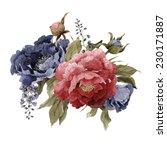 bouquet of peonies  watercolor  ... | Shutterstock . vector #230171887
