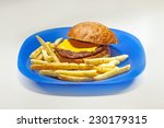 Blue Plate With Simple...