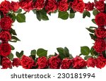 Stock photo frame of red roses isolated on white background 230181994