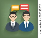 chat businessman on blackboard... | Shutterstock .eps vector #230195395