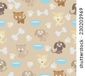 seamless pattern with cat and... | Shutterstock .eps vector #230203969