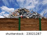 Scrap metal on a recycling storage - stock photo