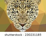 Conceptual polygonal jaguar, cheetah. Abstract vector Illustration, low poly style. Stylized design element. Geometric hipster illustration.Logo design.