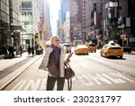 girl calling taxi cab in new... | Shutterstock . vector #230231797