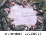 white shabby christmas border...   Shutterstock . vector #230255719