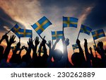 group of people waving swedish... | Shutterstock . vector #230262889