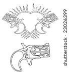 retro tattoo heart and gun | Shutterstock .eps vector #23026399