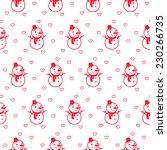 cute snowman seamless pattern... | Shutterstock .eps vector #230266735