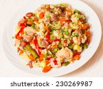 chicken with rice and vegetables | Shutterstock . vector #230269987