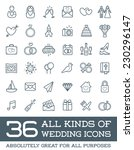 all kinds of wedding marriage... | Shutterstock .eps vector #230296147