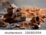 dark chocolate stack  chips and ... | Shutterstock . vector #230301934