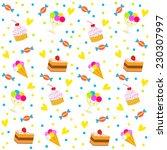 birthday seamless pattern... | Shutterstock .eps vector #230307997