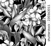 tropical monochrome seamless... | Shutterstock .eps vector #230363011