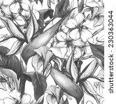tropical monochrome seamless... | Shutterstock .eps vector #230363044