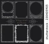 set of vintage borders on black. | Shutterstock .eps vector #230405905