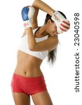 Small photo of cute brunette in boxing dress guarding herself from pummel