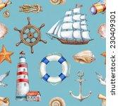seamless nautical pattern   Shutterstock . vector #230409301