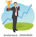 businessman is holding trophy... | Shutterstock .eps vector #230424034