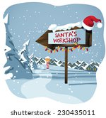 santa's workshop sign at the... | Shutterstock .eps vector #230435011