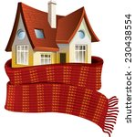 house in a scarf. save a warm | Shutterstock .eps vector #230438554