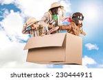 children in a cardboard box...   Shutterstock . vector #230444911