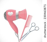 pink hair dryer with... | Shutterstock .eps vector #230463871