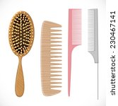 Hair Combs Set Isolated On A...