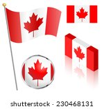 canadian flag on a pole  badge... | Shutterstock .eps vector #230468131