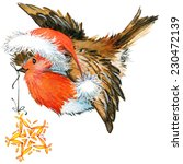 Watercolor Christmas Bird...