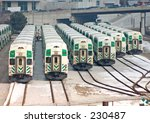 Commuter train yard. - stock photo